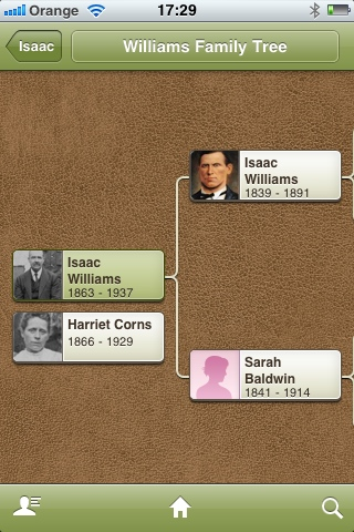 Screen shot from Ancestry app
