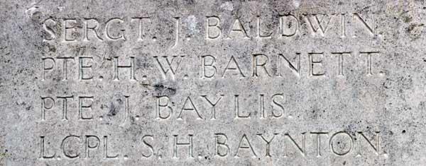 Image of names on war memorial